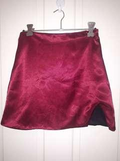 Omighty burgundy slit skirt