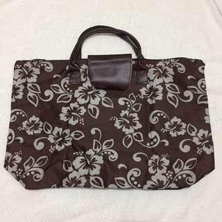 FLORAL BROWN TOTE BAG