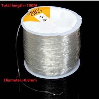 100mCrystal Line String Thread Stretch Elastic Beading Cord Dichotomanthes0.8mm