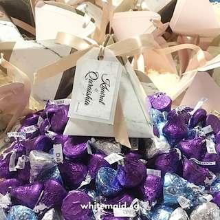 Marble Print Pyramid Gift Box Filled Hershey Kisses