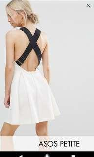 White Cross Back Skater Dress