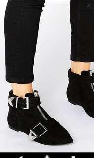 Black Ankle Boots with zip and buckles
