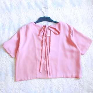 crop pink bow top