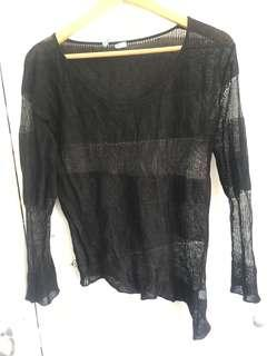 Kookai Mesh Long Sleeve Top