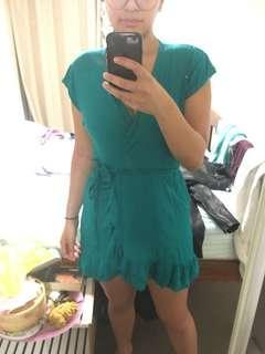 Turquoise cotton wrap dress