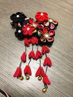 Handmade 新娘頭飾-和風 #襯褂一流 #和風 #紅黑 #純手工