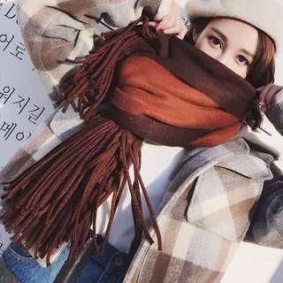 🚚 現貨🔥雙面純色針織圍巾仿羊絨🧣 4色