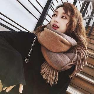 🚚 現貨🔥秋冬百搭純色加厚雙面圍巾披肩 5色