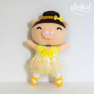 SALE! Yellow Ballerina Dancing Pig Ornament