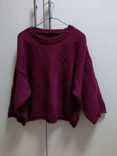 🚚 紫色寬袖短版毛衣