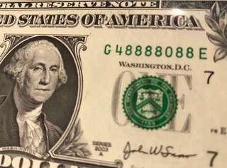 US SERIES 2003A $1 *G48888088E 發發發發定發發* LUCKY NOTE GEM UNC