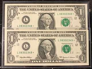 US SERIES 1999 $1 x 2 Running Numbers LUCKY STAR NOTES (Replacement Notes) GEM UNC