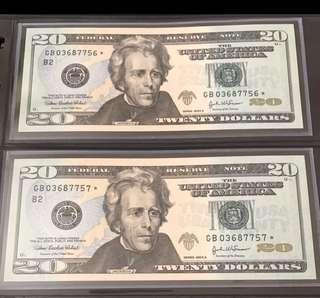 US SERIES 2004A $20 x 2 Running Numbers LUCKY STAR NOTES (Replacement Notes) Superb GEM UNC