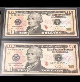 US SERIES 2004A $10 x 2 Running Numbers LUCKY STAR NOTES (Replacement Notes) Superb GEM UNC