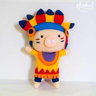 SALE Tribal Aztec Pig Ornament
