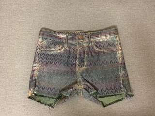 H&M Aztec Print Green Denim Shorts