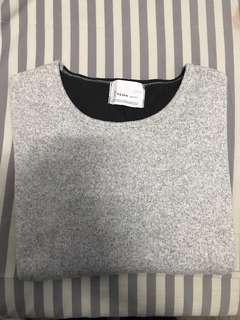 🚚 拼接刷毛正韓上衣-灰黑#十二月女裝半價