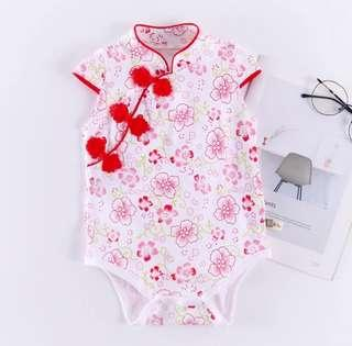 [Pre-order] Chinese lunar New year baby romper white floral cheongsam qipao
