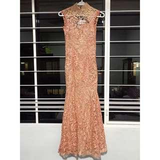 Cheongsam Maxi Dress with Lace