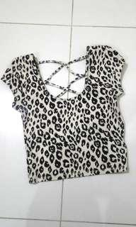 Forever21 Black & White Cheetah Fitted Crop Top