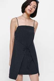 Love Bonito Alkyna Pinstriped Foldover Dress