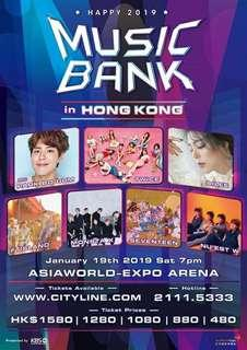 Music bank in HK 香港門票 Block B 企位2張 19/1