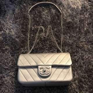 Like New Chanel mini in matte silver - Xmas fire sale !