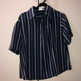 🚚 navy blue & grey stripe blouse