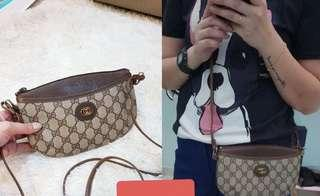 Gucci vintage crossbody bag,3 pocket using,can fix i phone plus + small wallet + key + tissue ,excellent condition