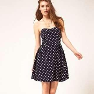 ASOS polka dot strapless dress sz6