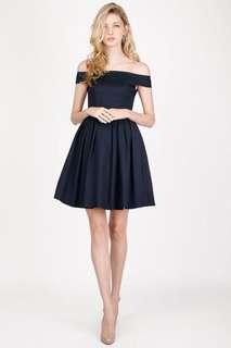AFA Kristen Off Shoulder Dress in Navy