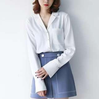 White Chiffon Top V-neck collar shirt blouse long sleeves sexy beautiful stylish long sleeves office formal wear casual