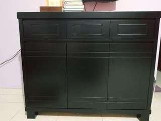Meja rak kayu duco hitam