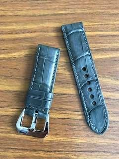 24mm/22mm Authentic Space Grey Crocodile 🐊 Alligator Watch Strap 🌟(smooth croc belly) Breitling Chronograph Panerai Watch Gruppo Gamma