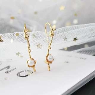 天然淡水珍珠真金樹枝🌿清新花朵🌼珍珠耳環