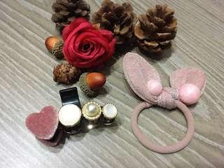 {💝促銷回饋價}韓款 兔耳彩珠髮圈&粉紅💗絨布珍珠中抓夾🈴️售