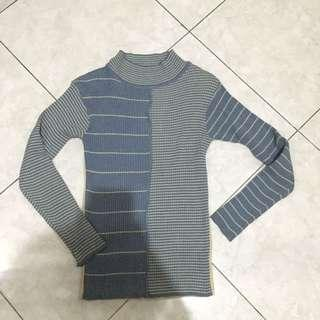 Blue turtle neck knit sweater