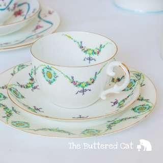 Beautiful hand-decorated antique English china trio, late Victorian to early Edwardian era