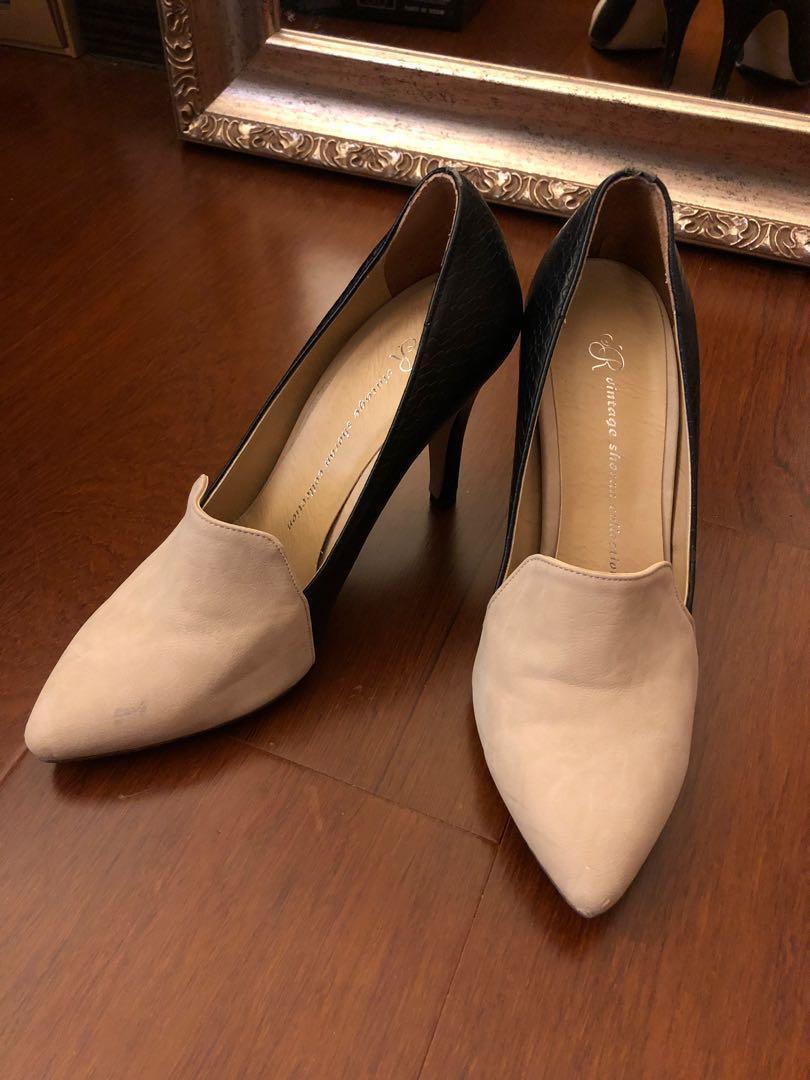 二手|韓國 杏色麂皮仿蛇皮淑女跟鞋