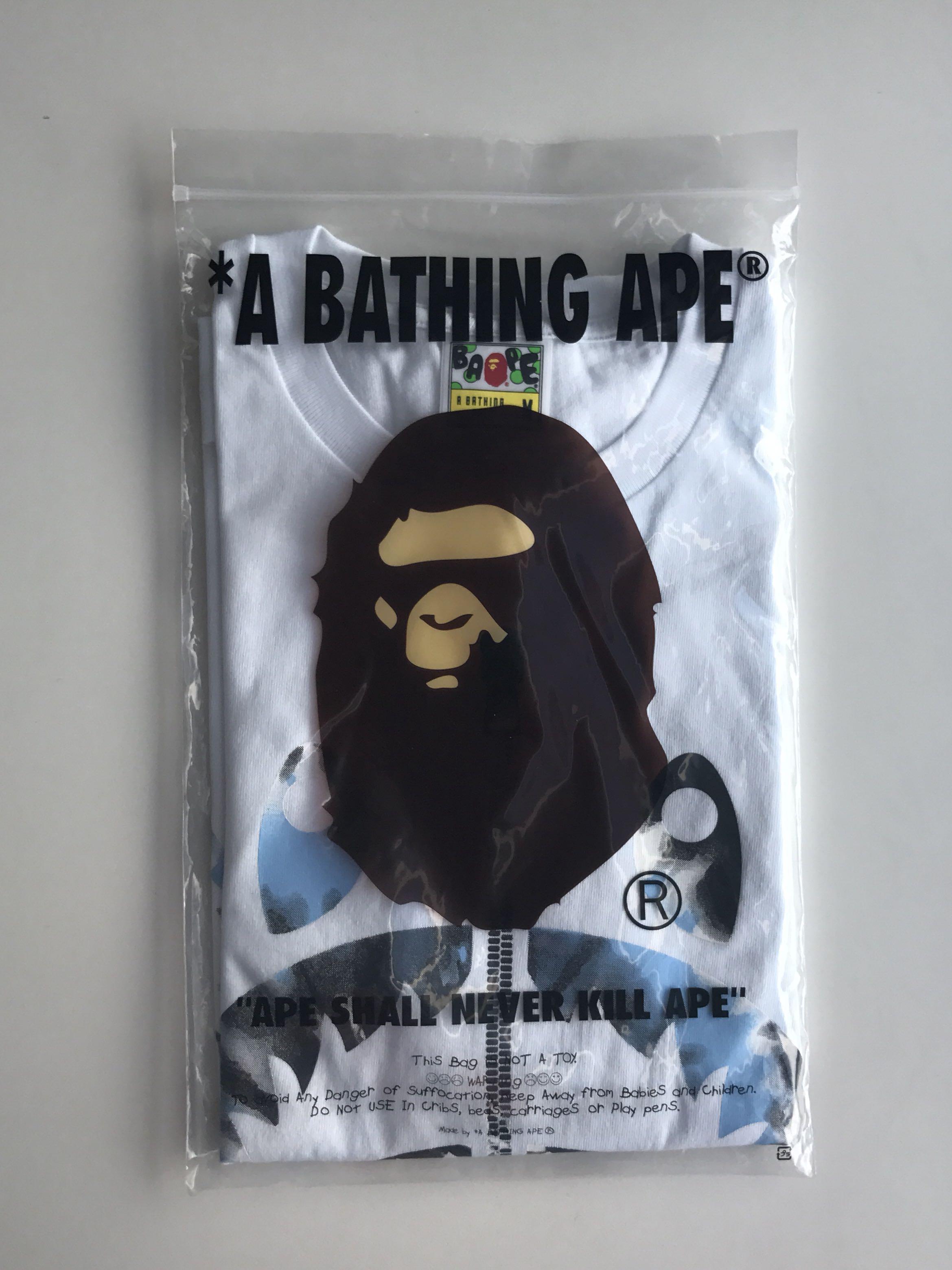 7c665e5e A Bathing Ape White Blue Shark Tee, Men's Fashion, Clothes, Tops on ...