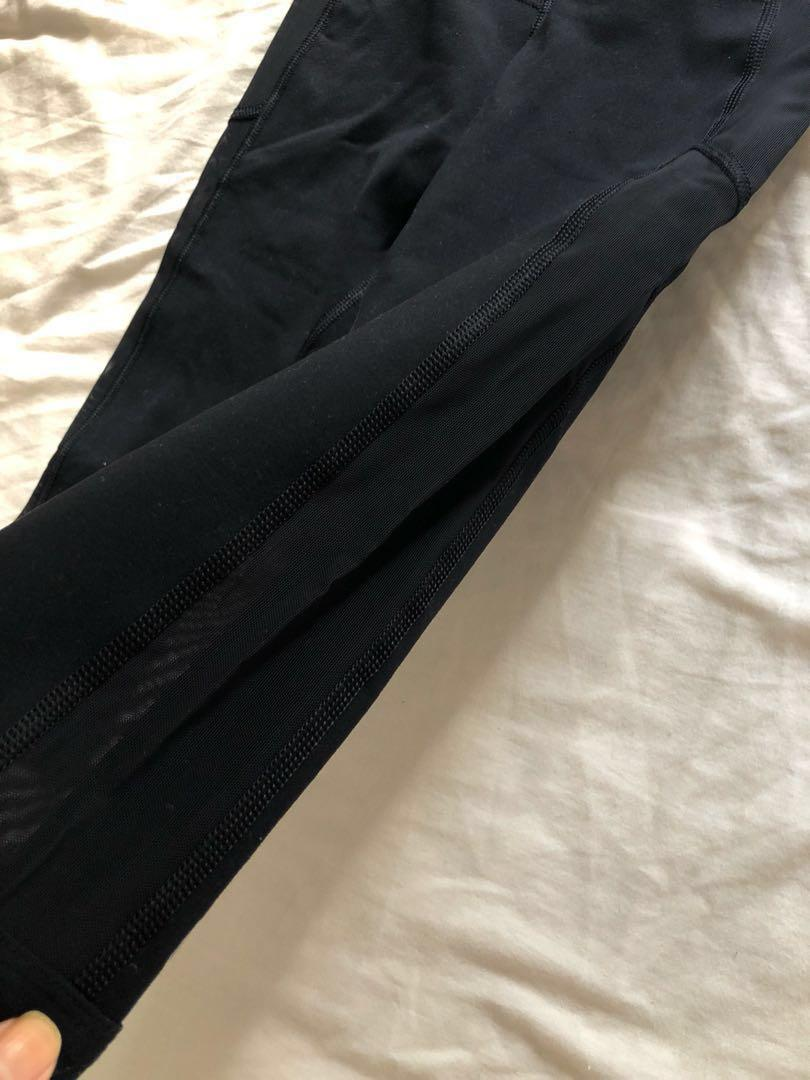 As new Authentic Lorna Jane xs 3/4 mesh sides leggings tights black gym workout excellent condition higher waist band