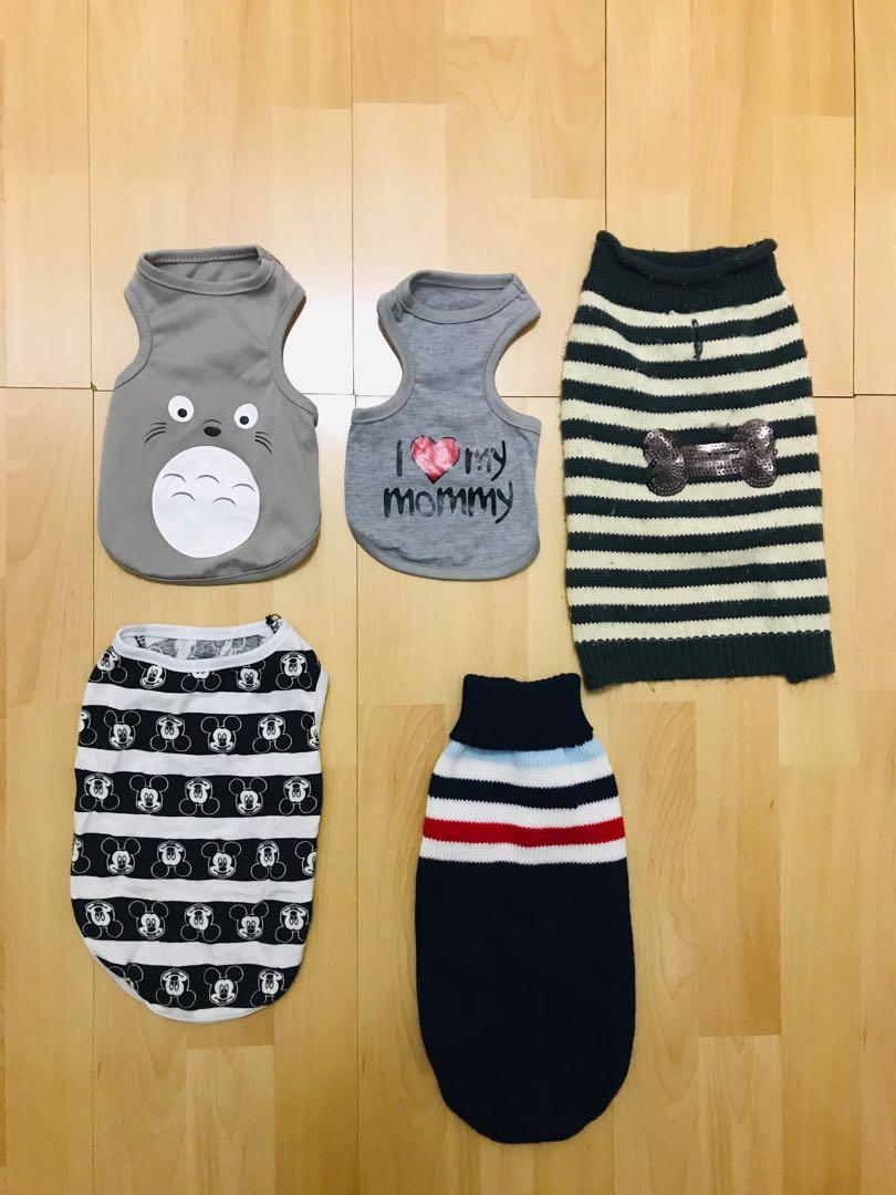 Assorted XXS-S puppy/dog shirts and sweaters