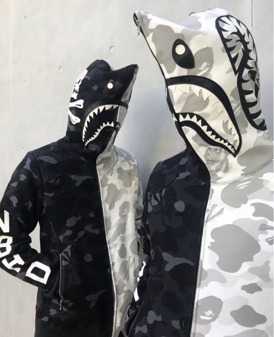 cf1b364e8 BAPE NBHD CAMO SHARK FULL ZIP HOODIE, Men's Fashion, Clothes, Tops on  Carousell