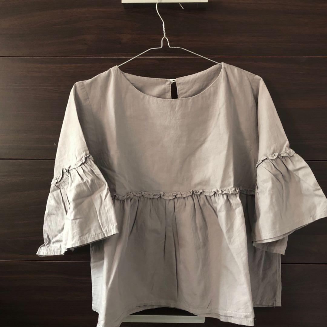 BELL SLEEVES RUFFLE BLOUSE - Grey