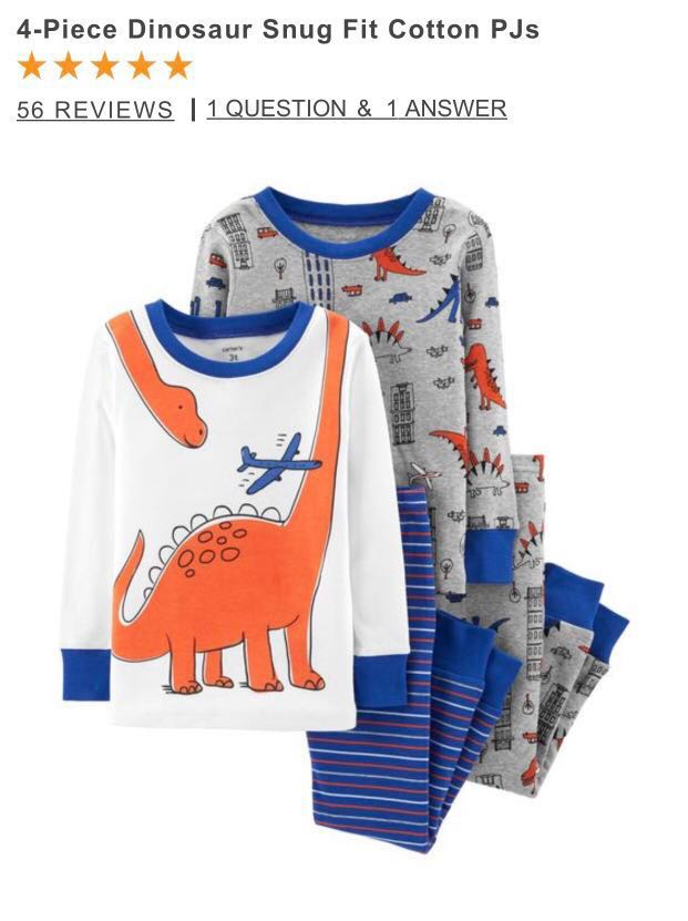 8cc572654ac2 Carters 4-piece snug fit cotton PJ (Dinosaur)