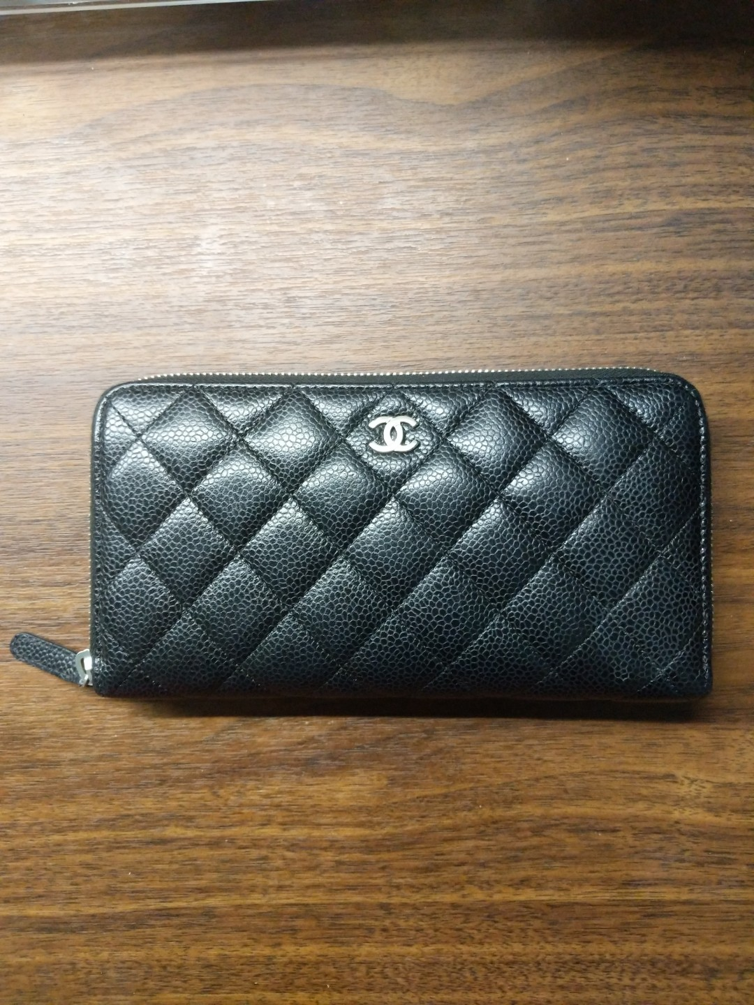96a175cfddd9b9 Chanel caviar zip around wallet in silver hardware, Luxury, Bags ...