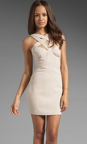 Finders keepers nude bodycon criss cross dress