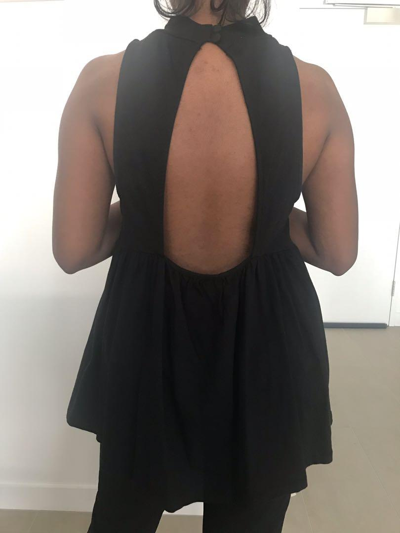 Free People Cupcake High neck backless basic tunic top