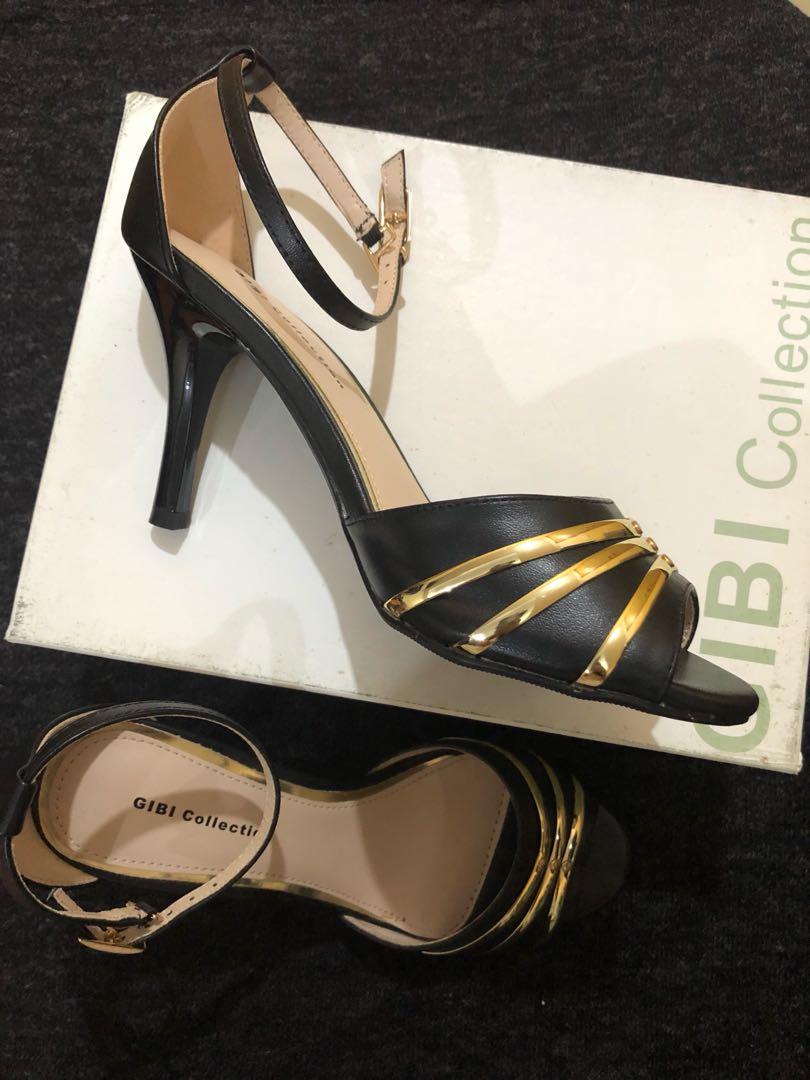 3f359a6f35d Gibi Black and Gold Peep-toe Heels