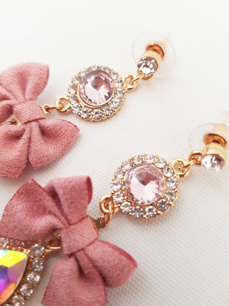Korean bowknot pink drop dangle fashion earrings valentines gift